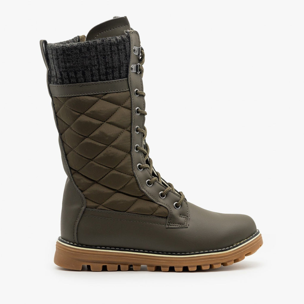 Womens Quilted Sweater Cuff Snow Boots - Refresh - Khaki / 5