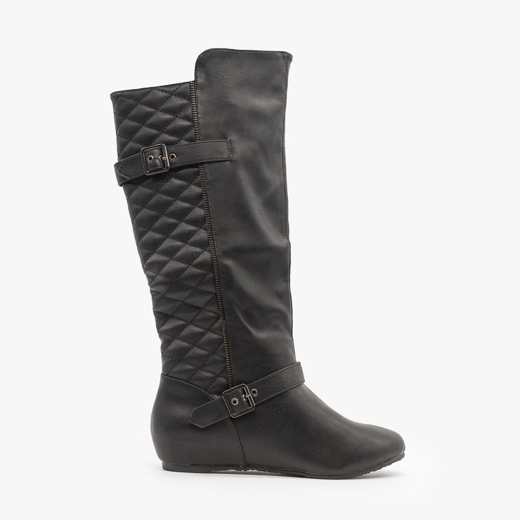 Womens Quilted Wedge Riding Boots - Wild Diva Shoes - Black / 5