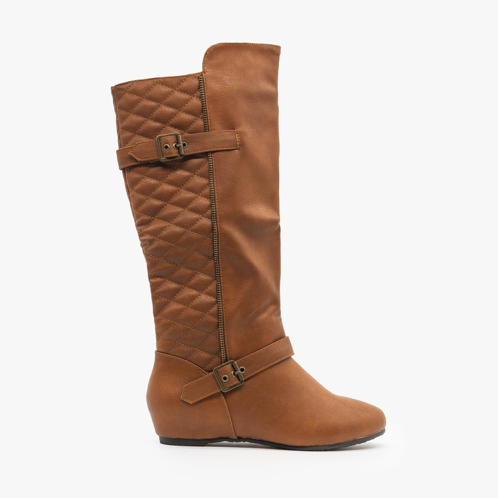 Womens Quilted Wedge Riding Boots - Wild Diva Shoes - Cognac / 5