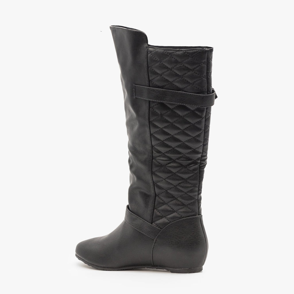 Womens Quilted Wedge Riding Boots - Wild Diva Shoes