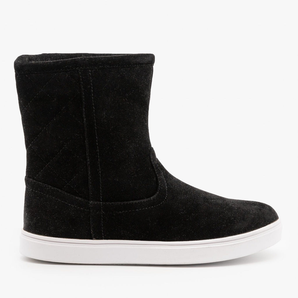 Womens Quilted Winter Boots - Refresh - Black / 5