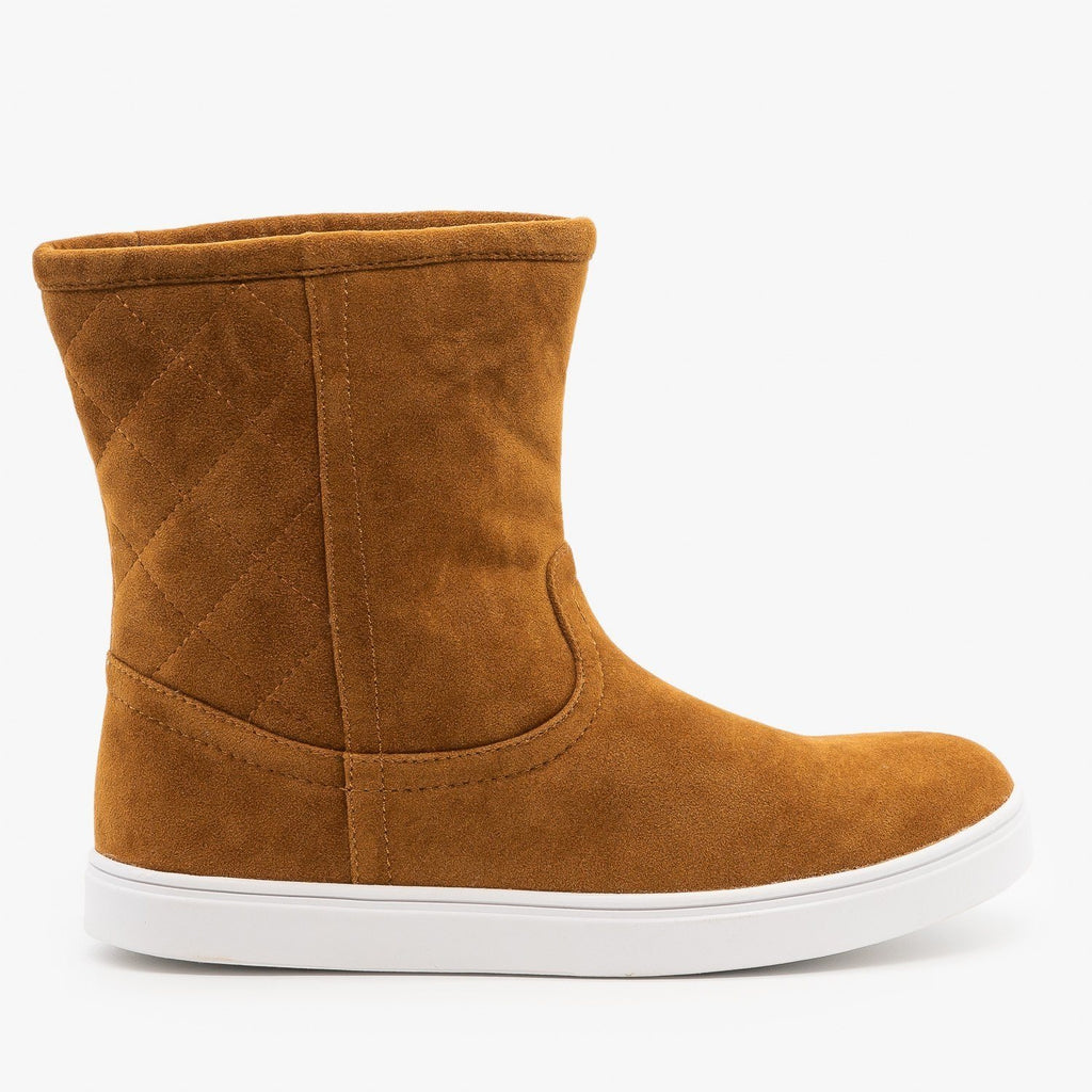 Womens Quilted Winter Boots - Refresh - Cognac / 5