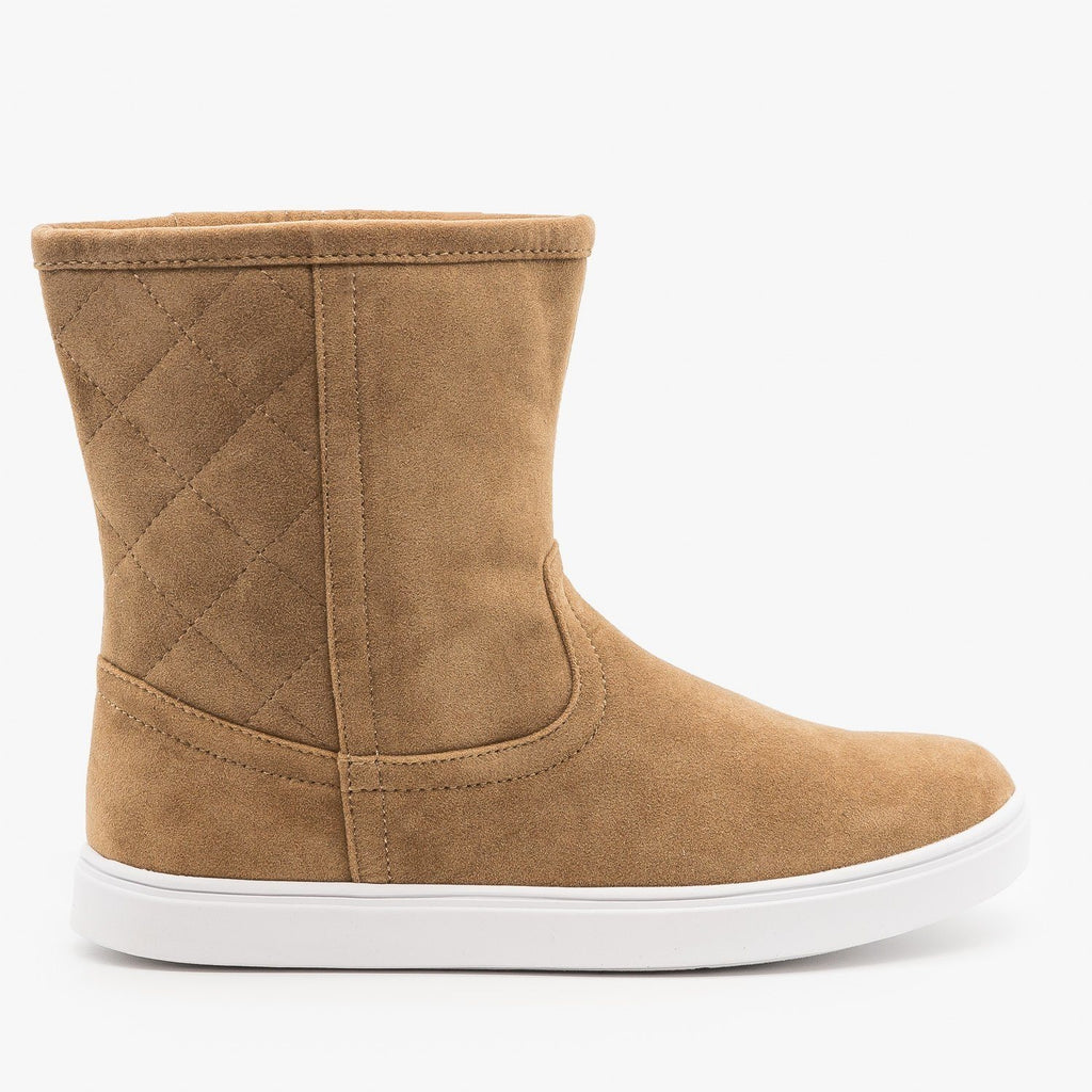 Womens Quilted Winter Boots - Refresh - Taupe / 5