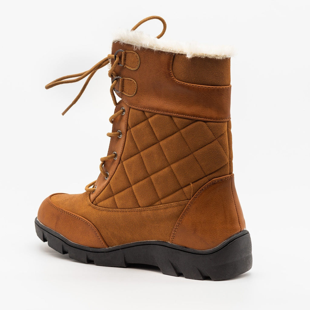 Womens Qulited Lace-Up Snow Boots - Chase & Chloe