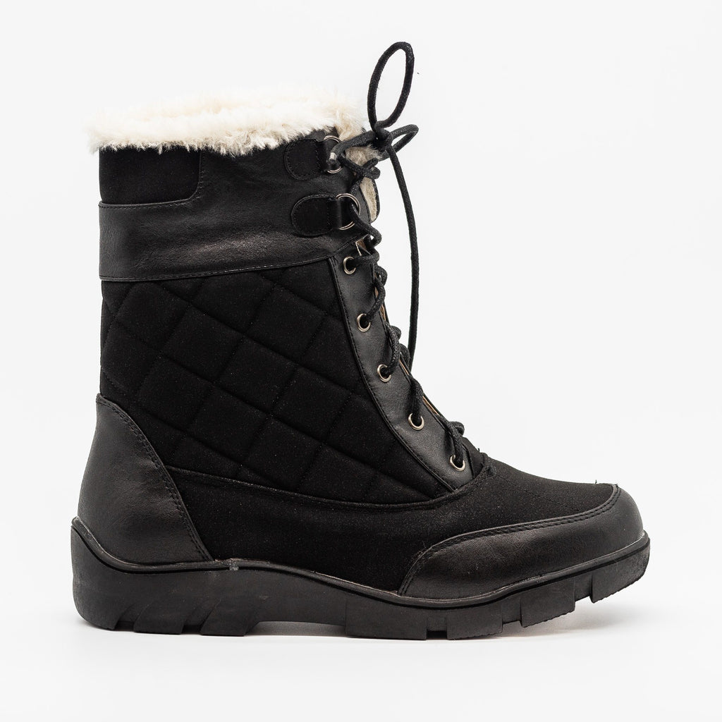 Womens Qulited Lace-Up Snow Boots - Chase & Chloe - Black / 5