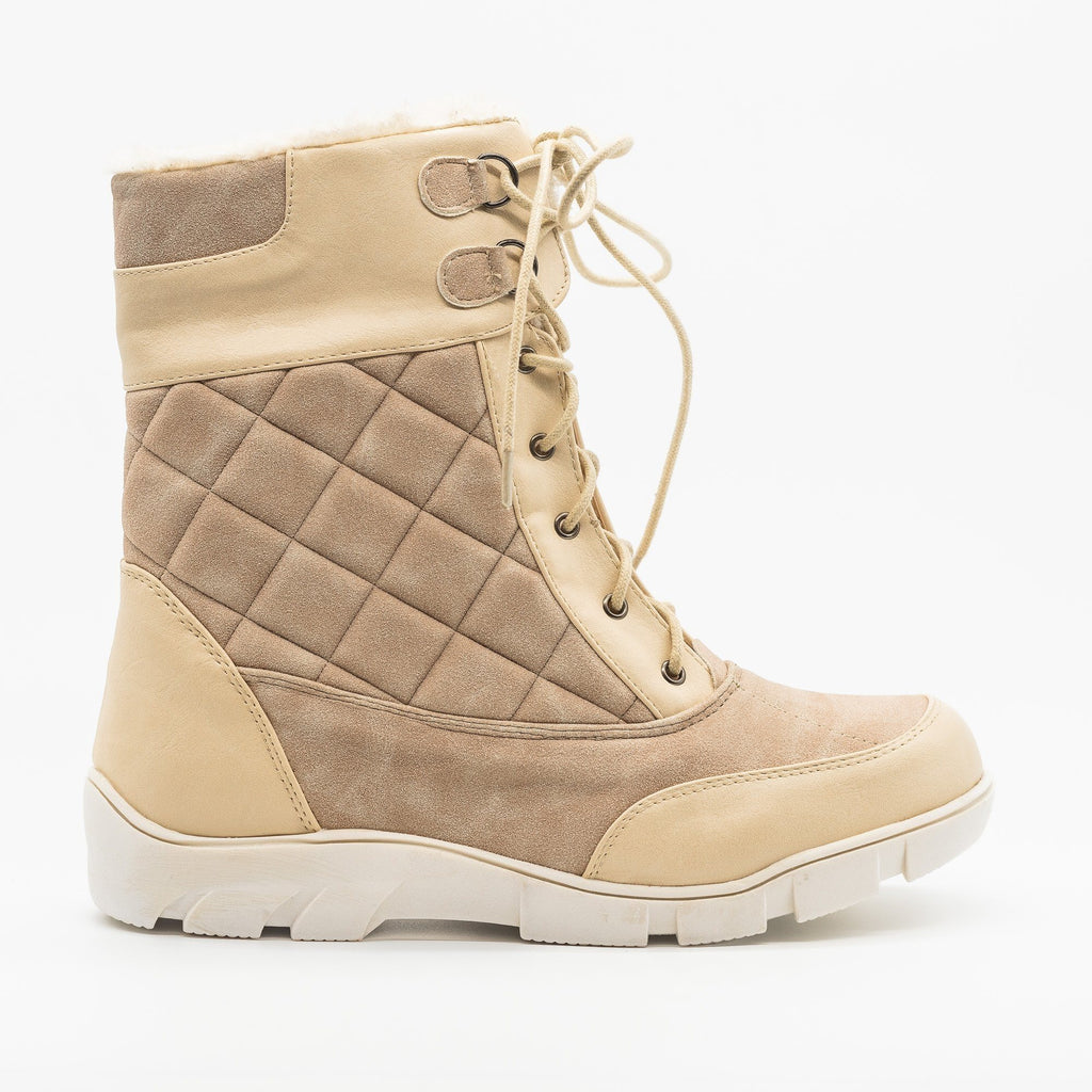 Womens Qulited Lace-Up Snow Boots - Chase & Chloe - Nude / 5