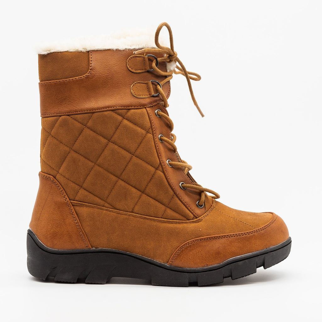 Womens Qulited Lace-Up Snow Boots - Chase & Chloe - Cognac / 5