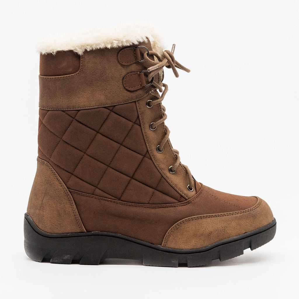 Womens Qulited Lace-Up Snow Boots - Chase & Chloe - Brown / 5