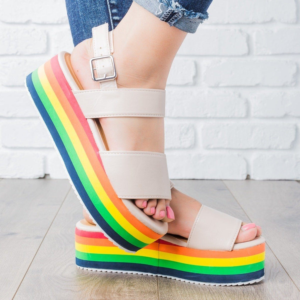 Womens Rainbow Platform Sandals - Qupid Shoes