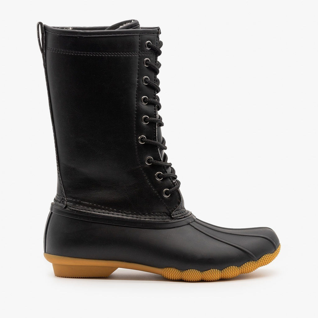 Womens Rainy Day Duck Boots - Refresh - Black / 5