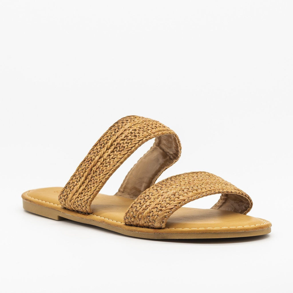 Womens Rattan Double Strap Slip-On Sandals - Sunny Feet - Tan / 5