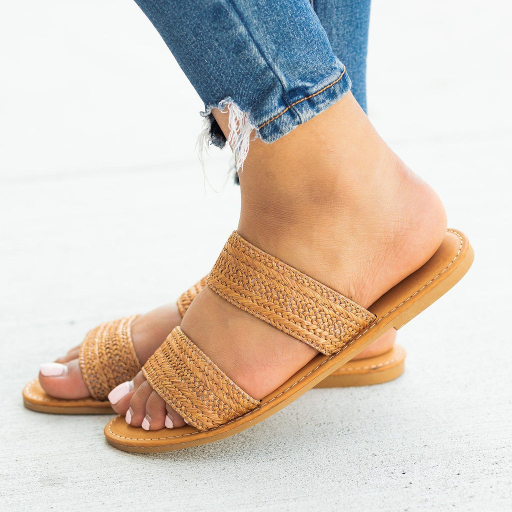 Womens Rattan Double Strap Slip-On Sandals - Sunny Feet