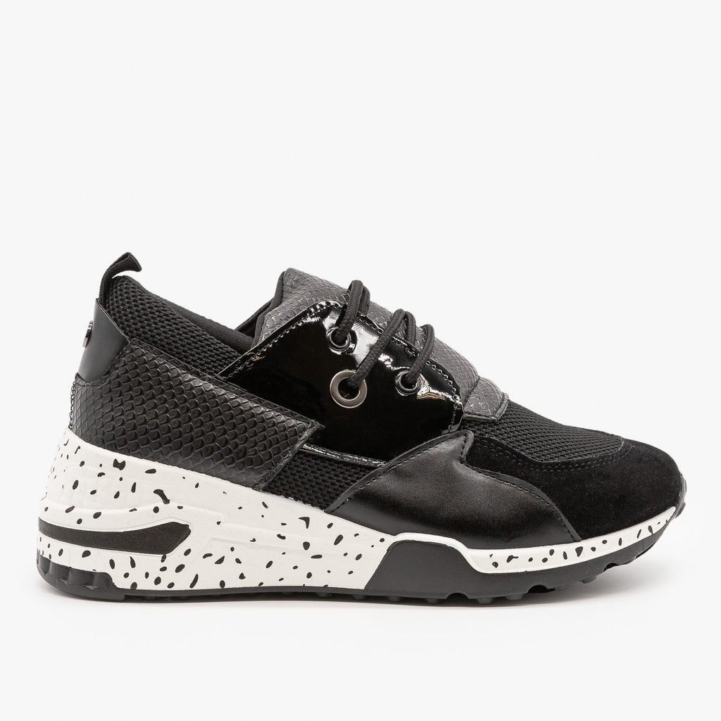 Womens Retro 90s-Inspired Sneakers - La Sheelah Shoes - Black / 5