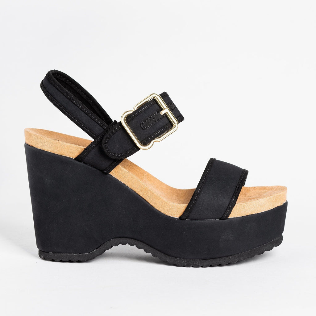 Womens Retro Buckled Strap Wedges - Qupid Shoes - Black / 5