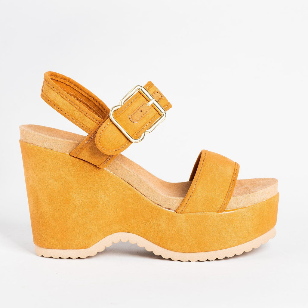 Womens Retro Buckled Strap Wedges - Qupid Shoes - Camel / 5