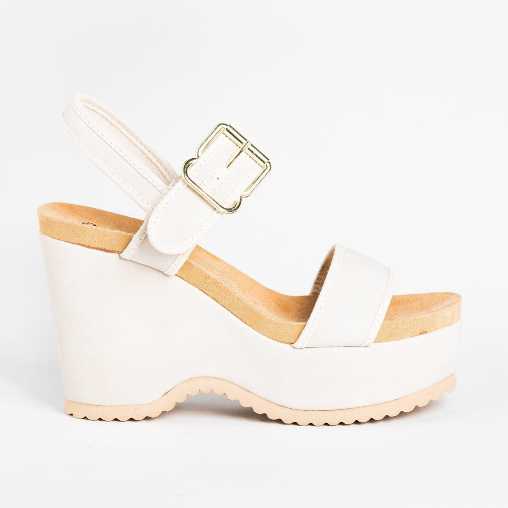 Womens Retro Buckled Strap Wedges - Qupid Shoes - Stone / 5