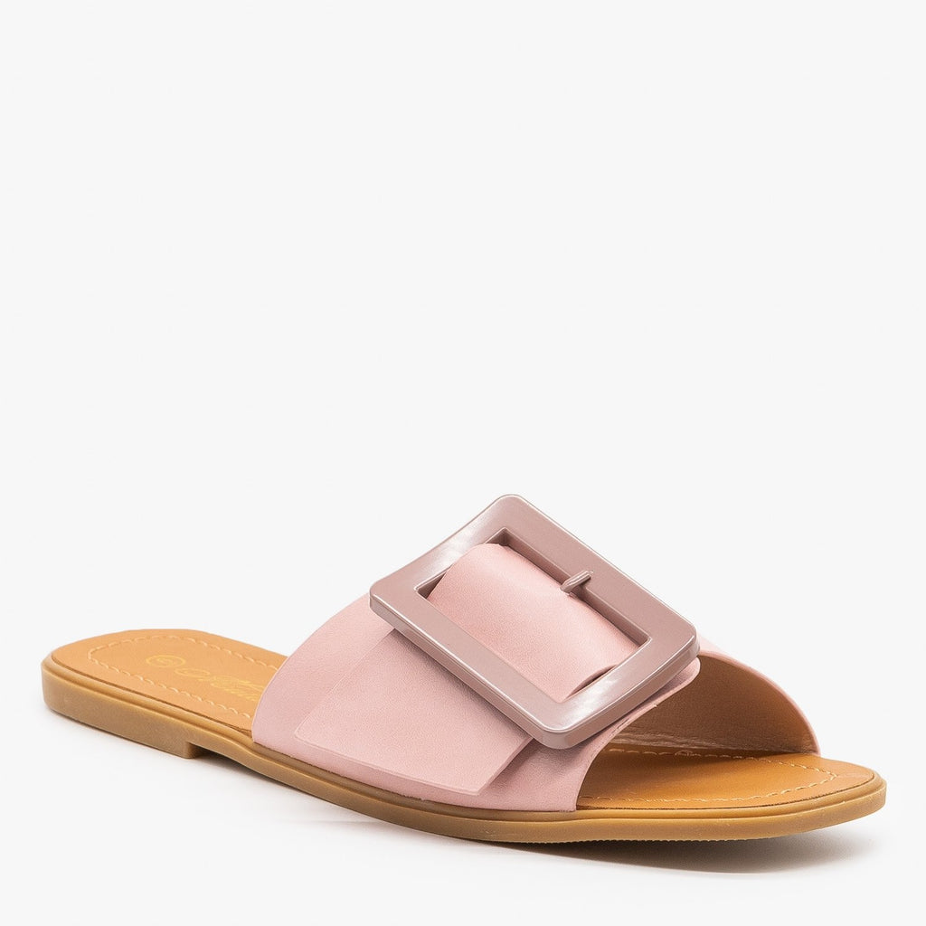 Womens Retro-Chic Buckled Sandals - Mata - Blush / 5