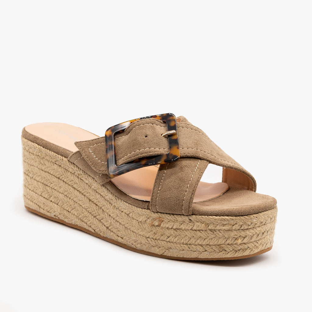 Womens Retro Espadrille Wedge Sandals - Top Moda - Taupe / 5