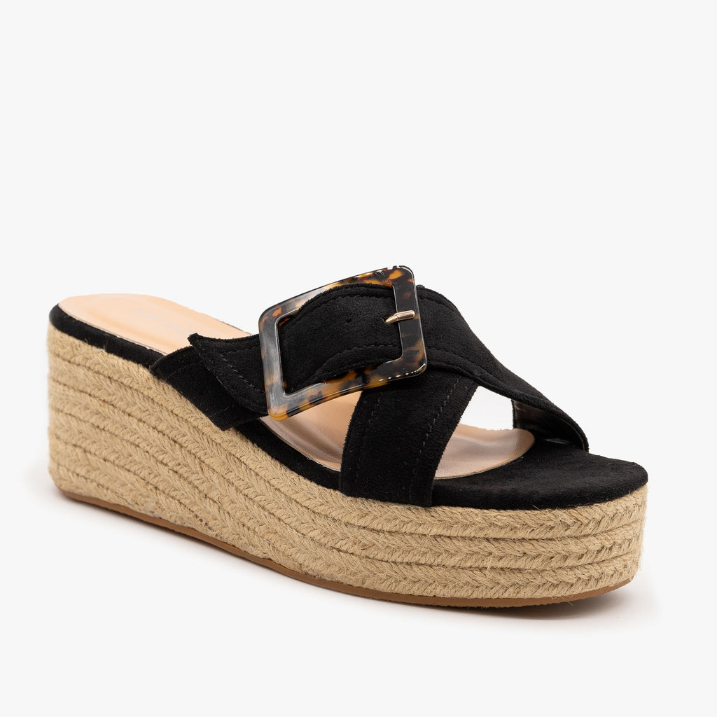 Womens Retro Espadrille Wedge Sandals - Top Moda - Black / 5