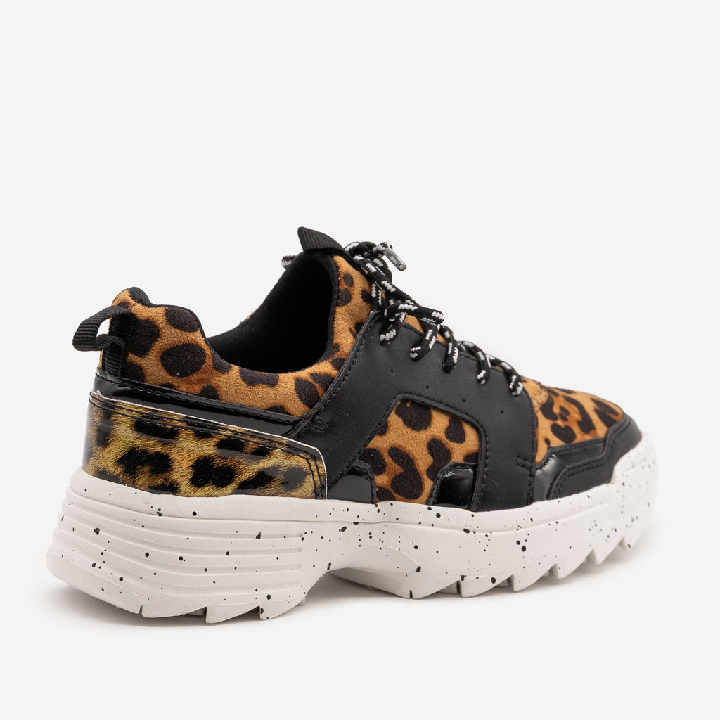 Women's Retro Leopard Print Chunky Sneakers - La Sheelah Shoes