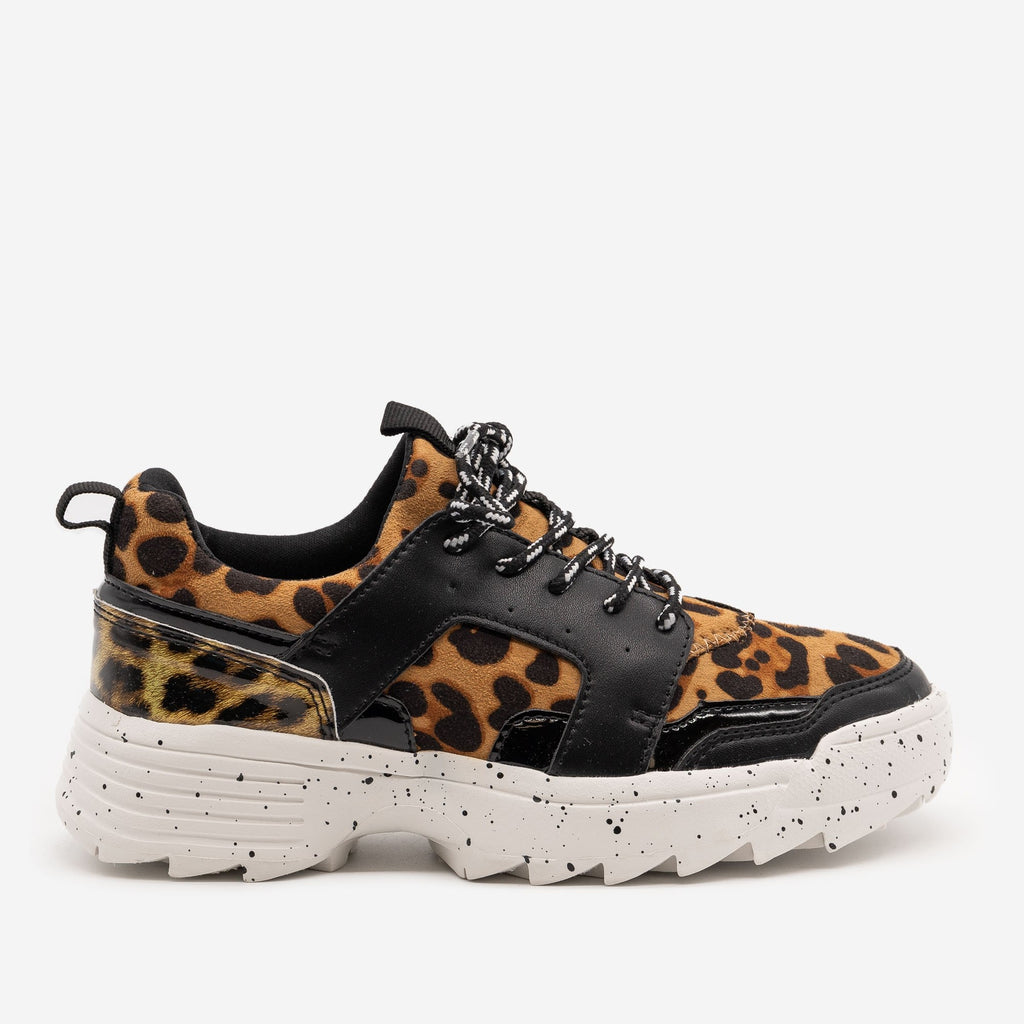 Women's Retro Leopard Print Chunky Sneakers - La Sheelah Shoes - Black Leopard / 5