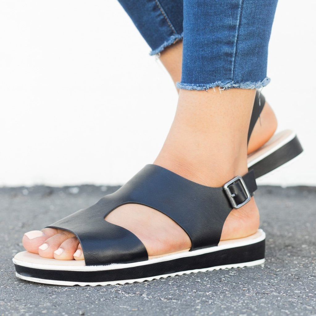 Womens Retro Summer Sandals - Bamboo Shoes - Black / 5