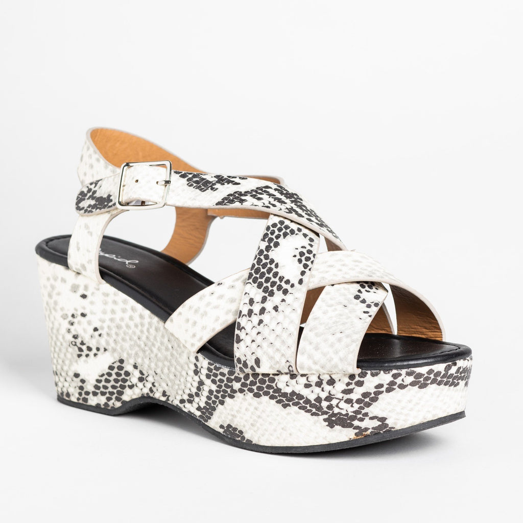 Womens Retro Woven Strap Platform Wedges - Qupid Shoes - Snake / 5