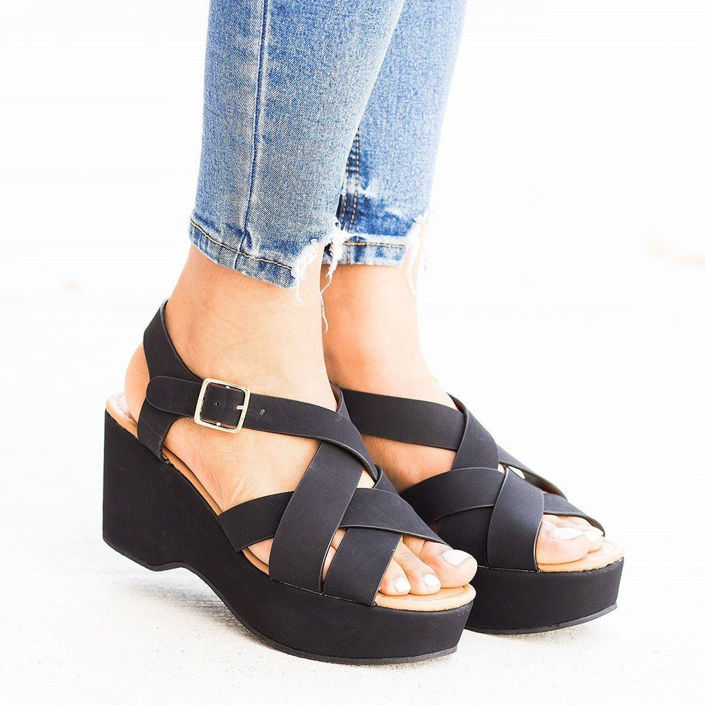 Womens Retro Woven Strap Platform Wedges - Qupid Shoes