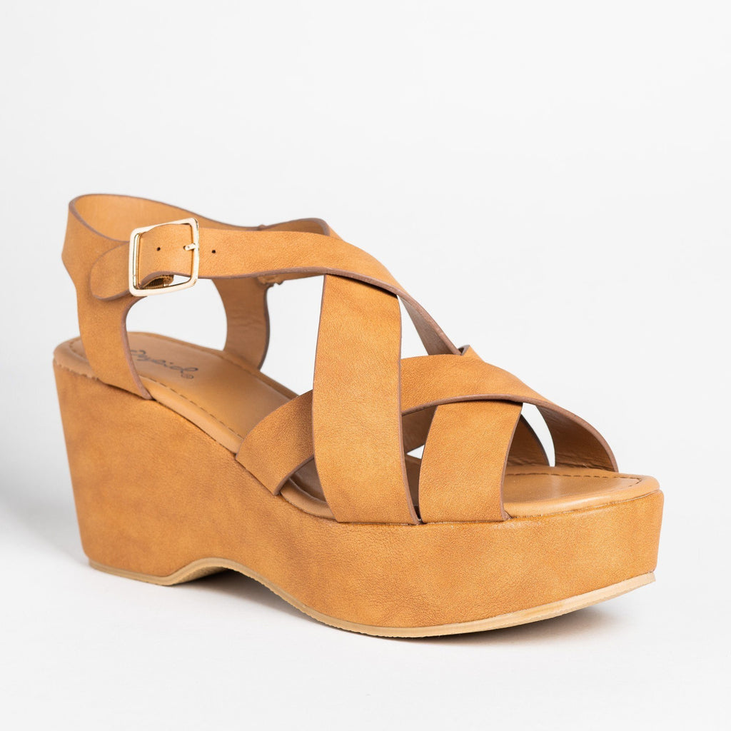 Womens Retro Woven Strap Platform Wedges - Qupid Shoes - Tan / 5