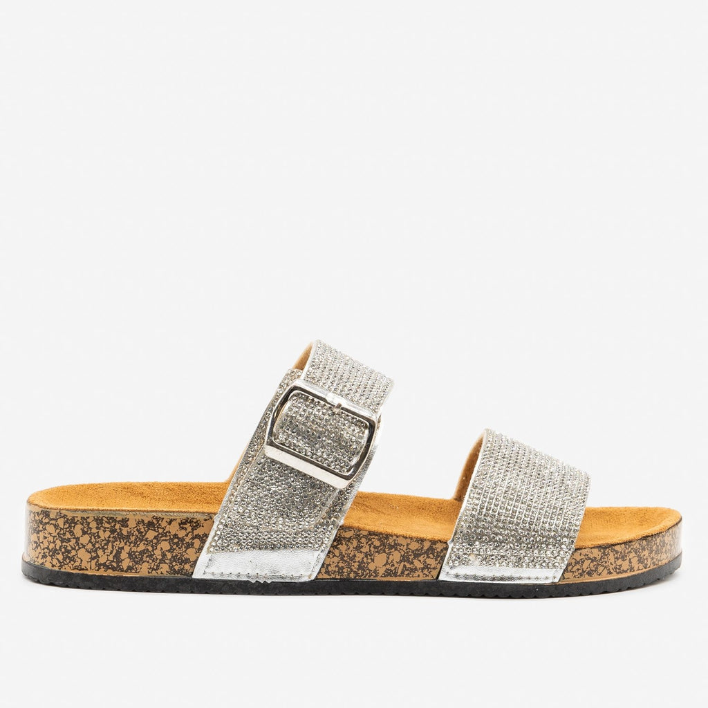 Women's Rhinestone Bedazzled Cork Slides - Qupid Shoes - Silver / 5