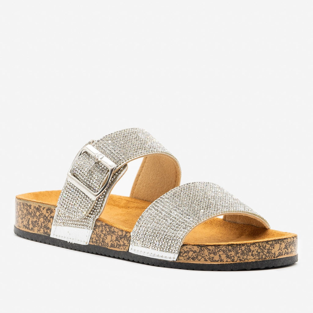 Women's Rhinestone Bedazzled Cork Slides - Qupid Shoes