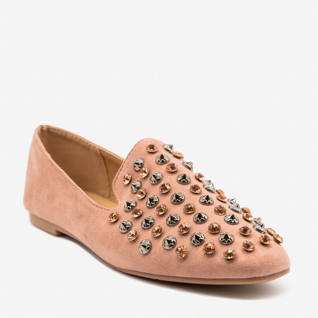Women's Rhinestone Bedazzled Loafers - Bella Marie - Mauve / 5