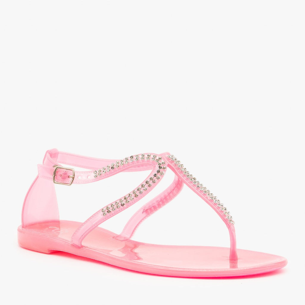 Womens Rhinestone Jelly Sandals - Cape Robbin