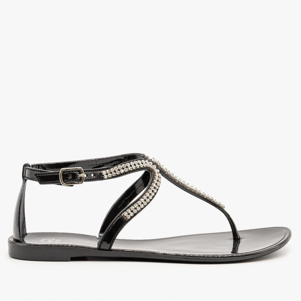 Womens Rhinestone Jelly Sandals - Cape Robbin - Black / 5
