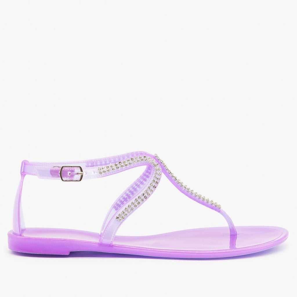 Womens Rhinestone Jelly Sandals - Cape Robbin - Purple / 5