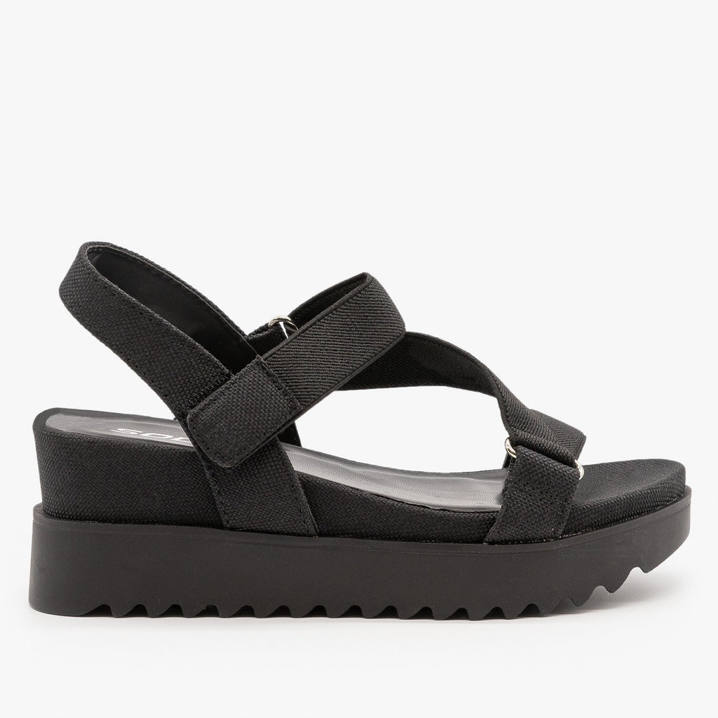 Womens Ribbed Sole Platform Sandals - Soda Shoes - Black / 5
