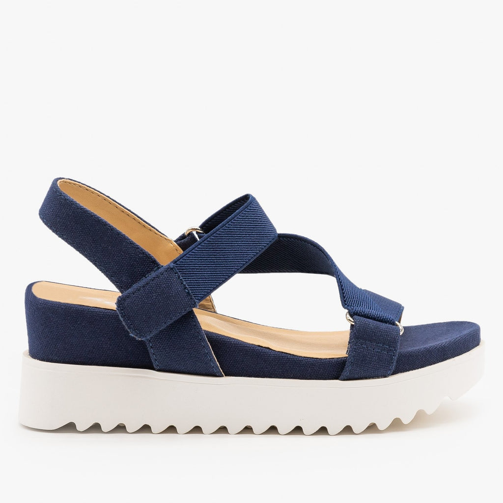 Womens Ribbed Sole Platform Sandals - Soda Shoes - Dark Blue / 5