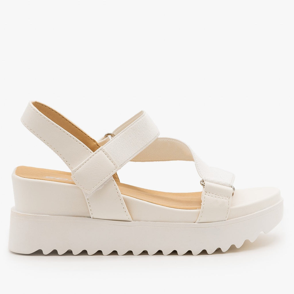 Womens Ribbed Sole Platform Sandals - Soda Shoes - White / 5