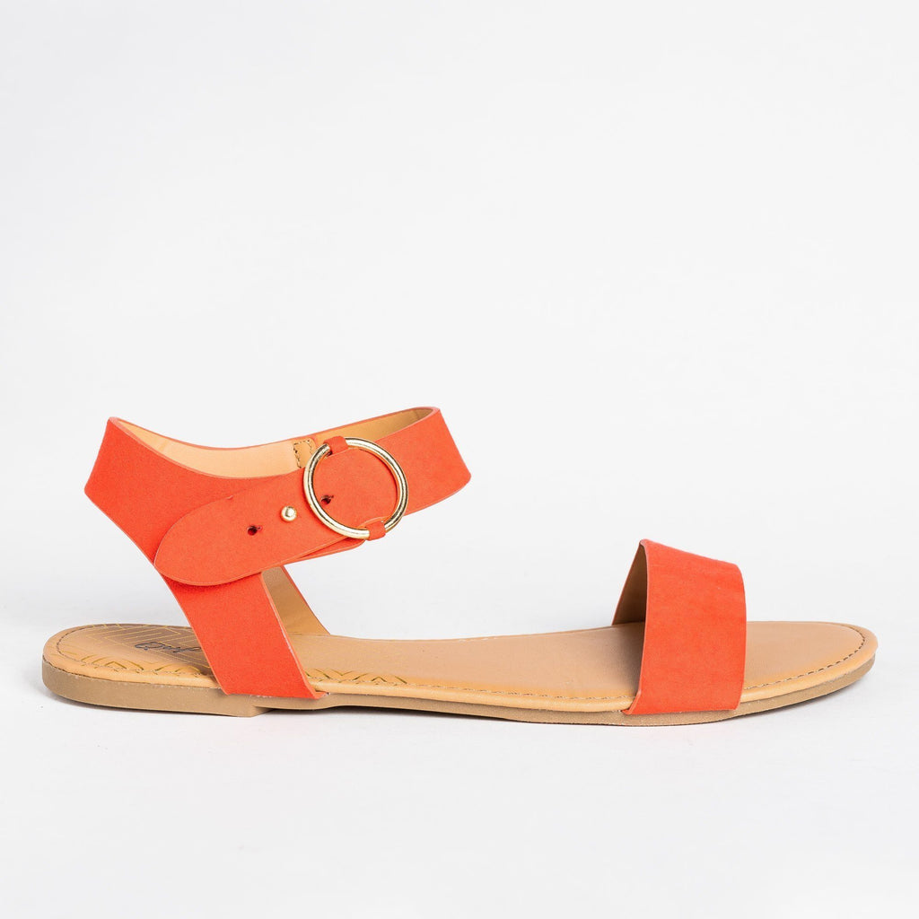 Womens Ring Buckle Sandals - Qupid Shoes - Blood Orange / 5