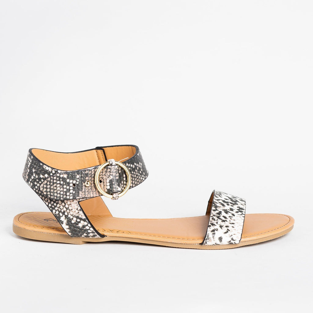 Womens Ring Buckle Sandals - Qupid Shoes - Beige Brown Snake / 5