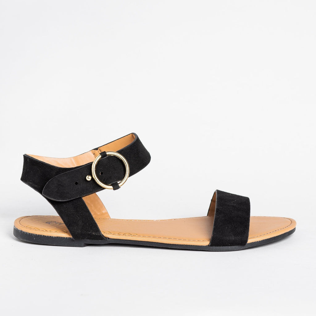 Womens Ring Buckle Sandals - Qupid Shoes - Black / 5