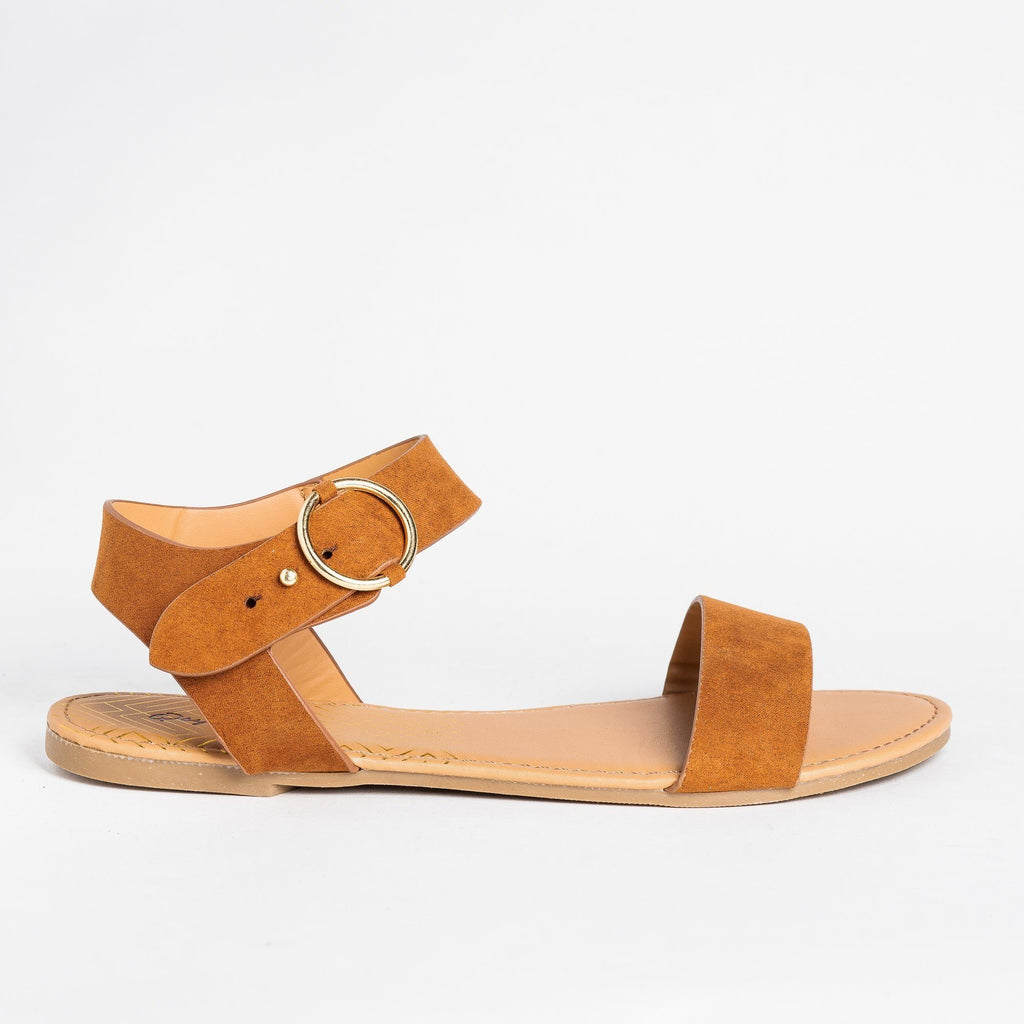 Womens Ring Buckle Sandals - Qupid Shoes - Chestnut / 5