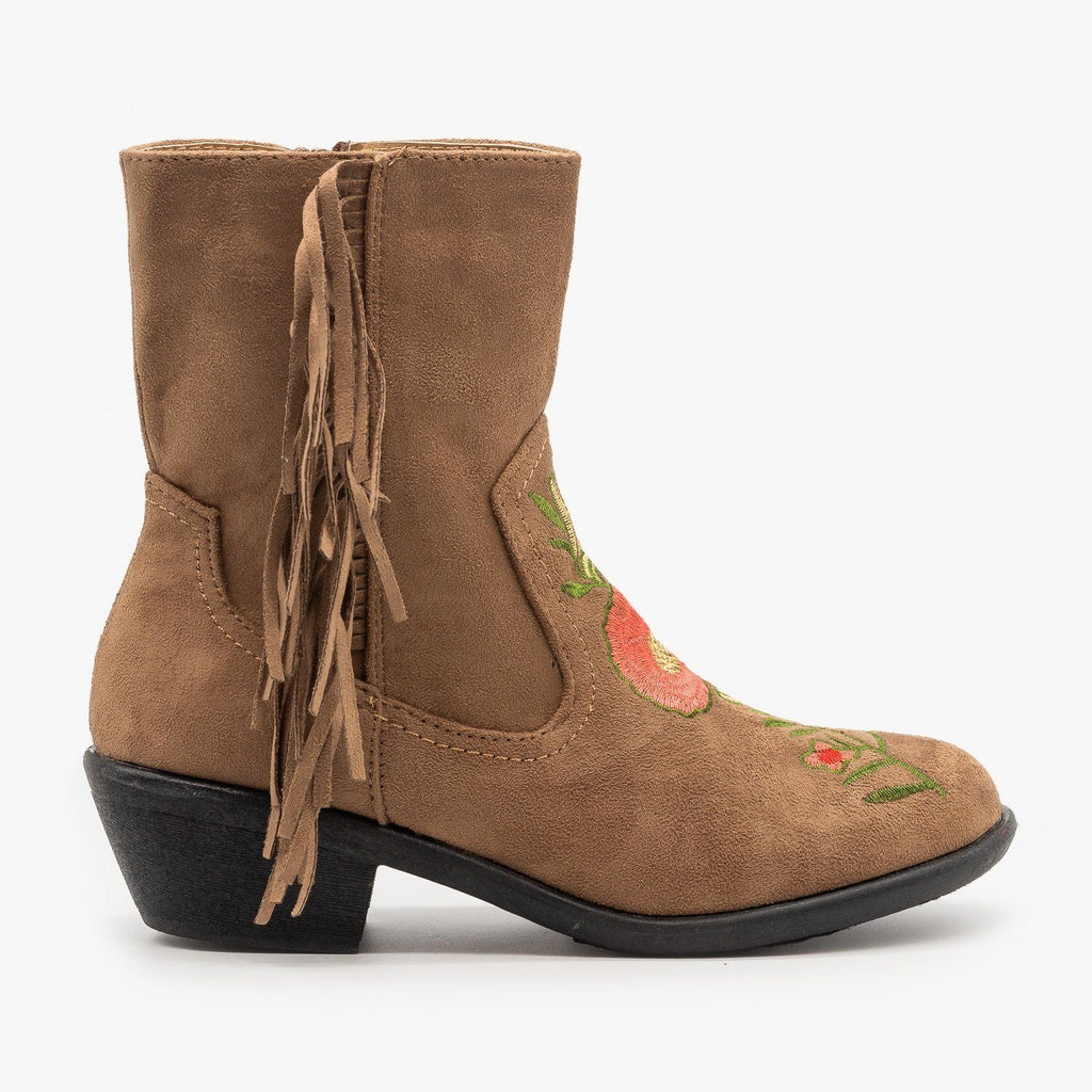 Womens Rose Embroidered Fringe Booties - Weeboo - Taupe / 5