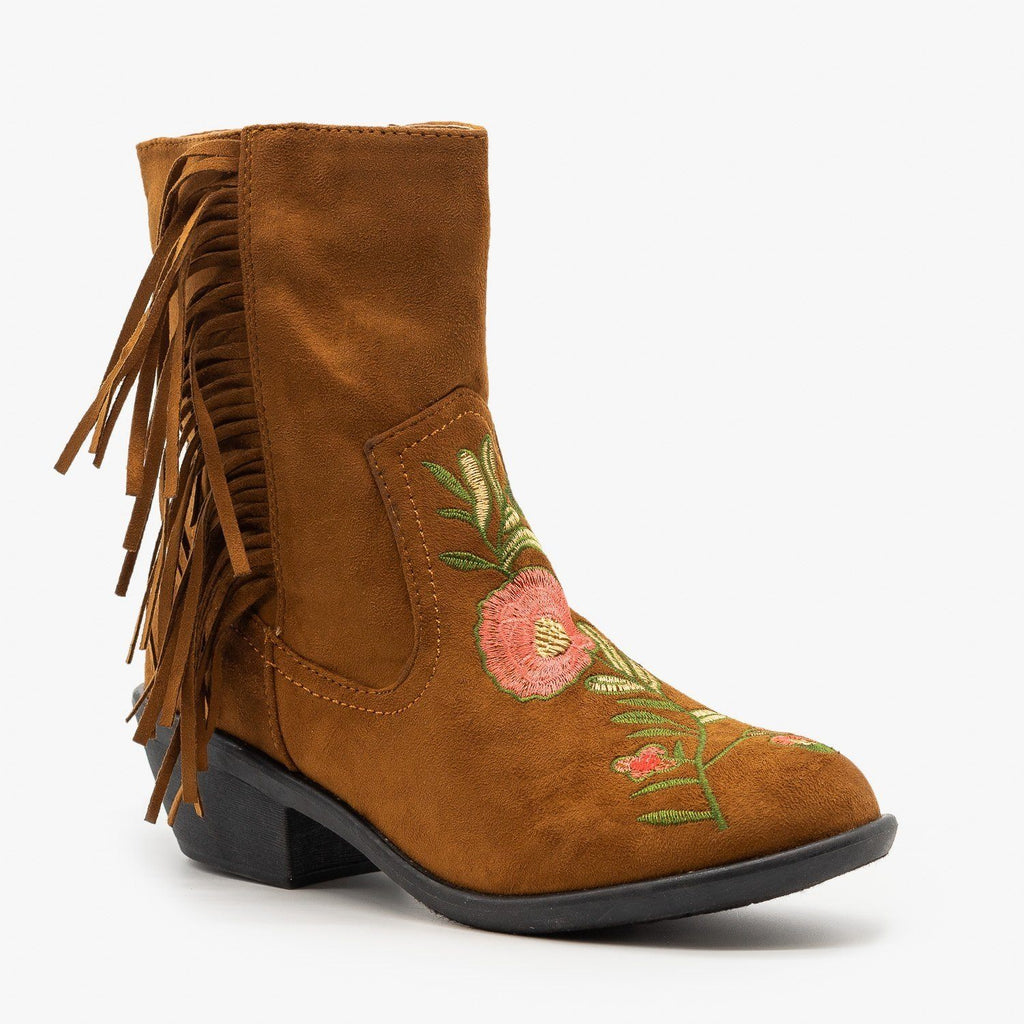 Womens Rose Embroidered Fringe Booties - Weeboo