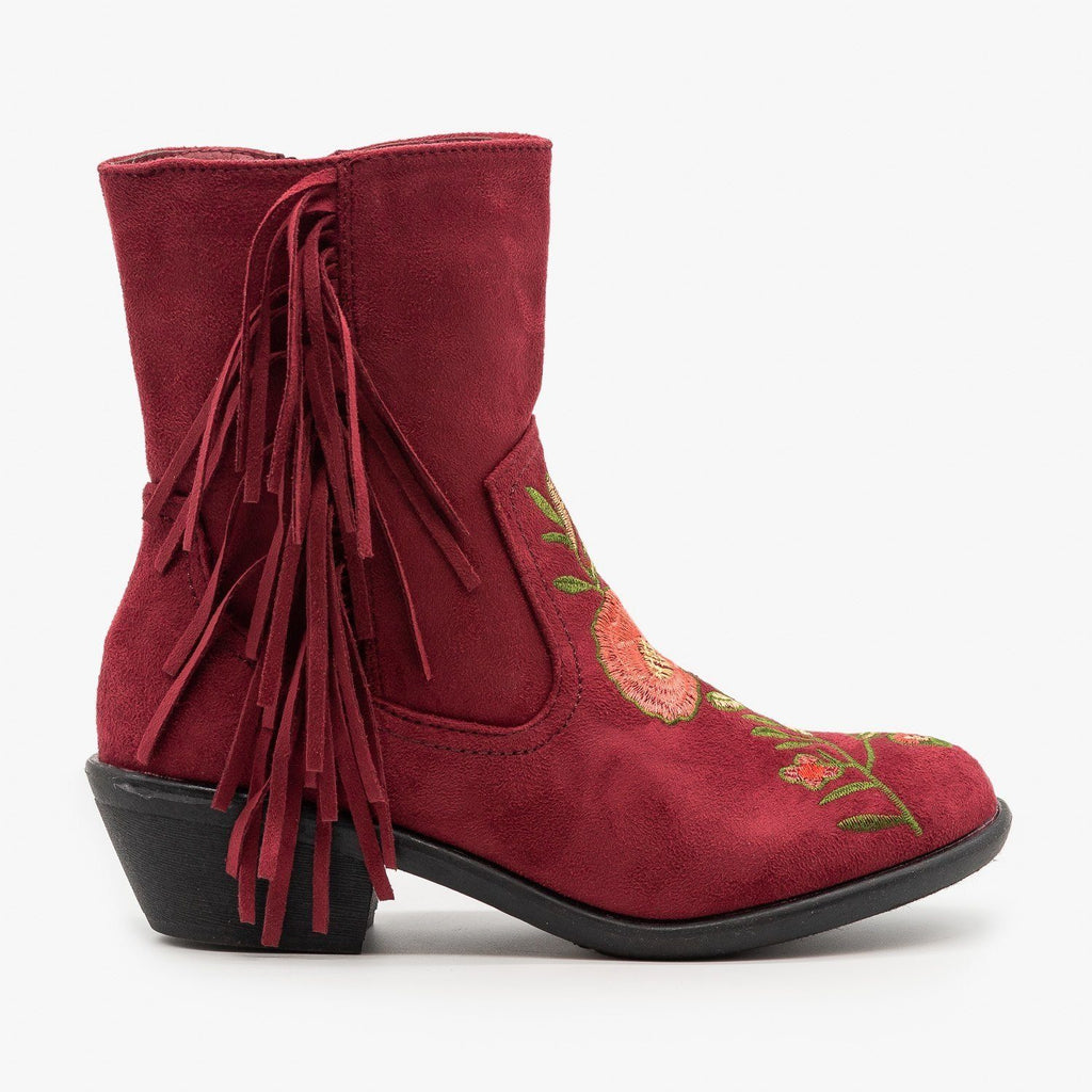 Womens Rose Embroidered Fringe Booties - Weeboo - Burgundy / 5