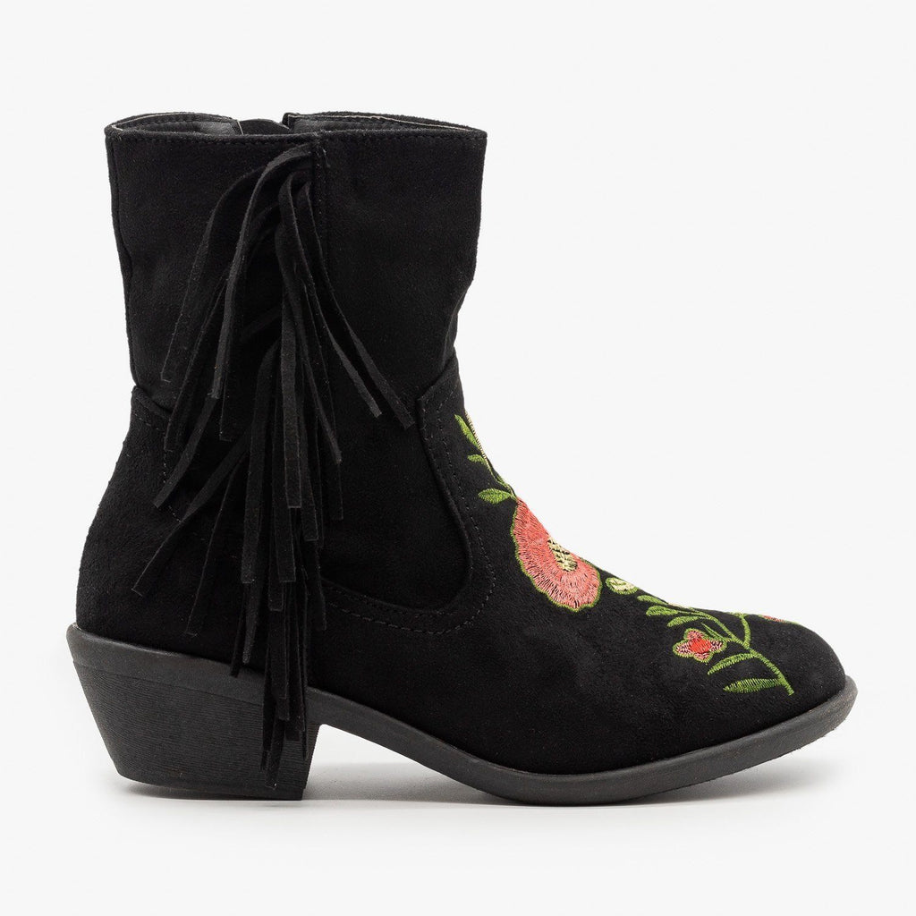 Womens Rose Embroidered Fringe Booties - Weeboo - Black / 5