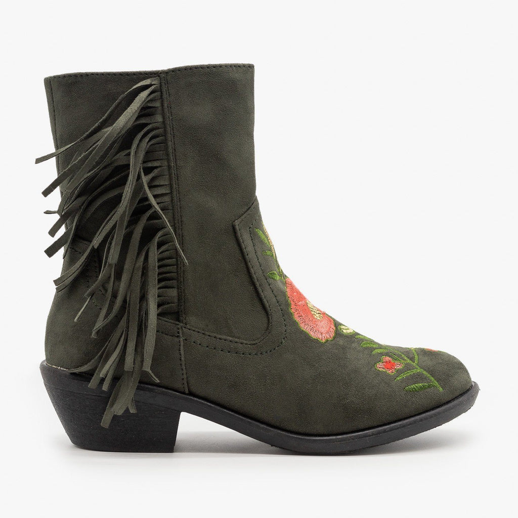 Womens Rose Embroidered Fringe Booties - Weeboo - Olive / 5