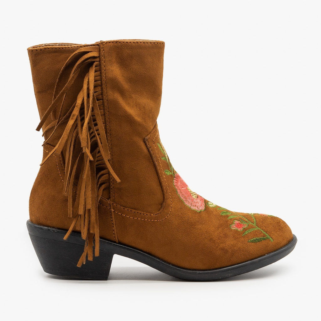 Womens Rose Embroidered Fringe Booties - Weeboo - Tan / 5