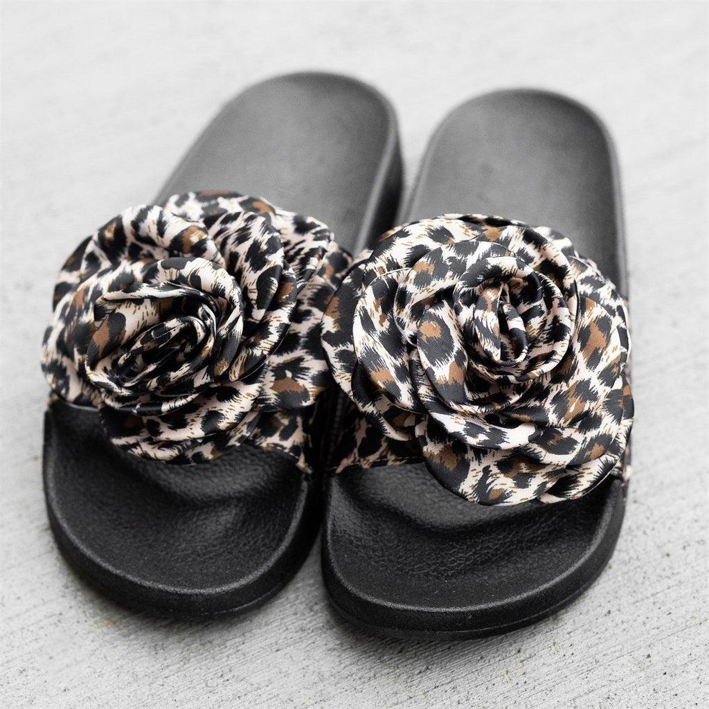 Womens Rose Fashion Slides - Refresh - Leopard / 5