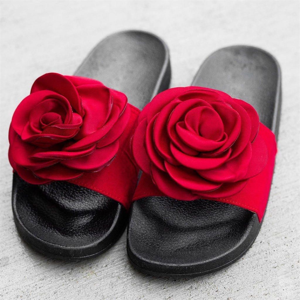 Womens Rose Fashion Slides - Refresh - Red / 5